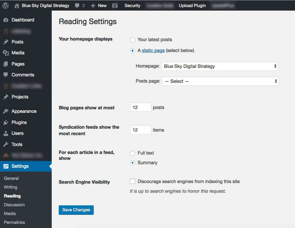 divi blog page missing WordPress reading settings