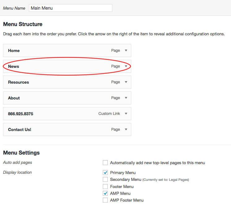 add divi blog page to wordpress menu