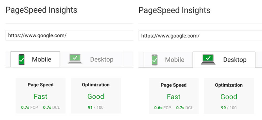 Google.com's PageSpeed Insights September 25, 2018